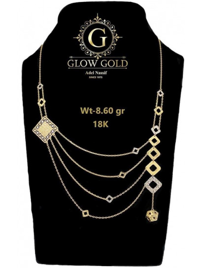 كوليه ذهب عيار 18 من جلو جولد Glow Gold 7285